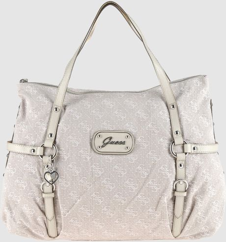 Guess Large Fabric Bags in Beige (black) - Lyst