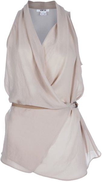 Helmut Lang Layered Shroud Sleeveless Top in Beige (nude) - Lyst