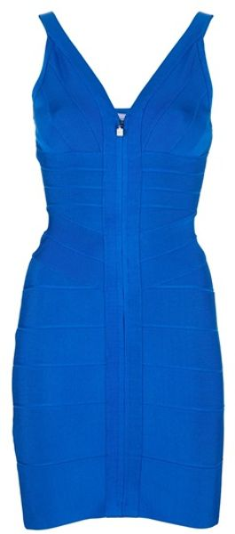 Hervé Léger Sleeveless Dress in Blue - Lyst