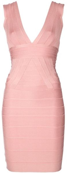 Hervé Léger Sleeveless Dress in Pink - Lyst