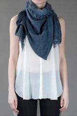 Jil Sander Frayed Scarf in Blue - Lyst