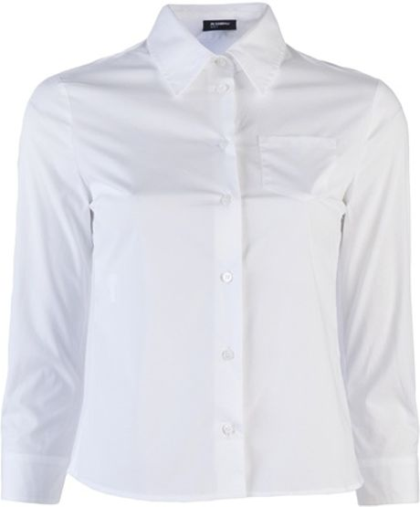 Jil Sander Cropped Oxford Shirt in White - Lyst