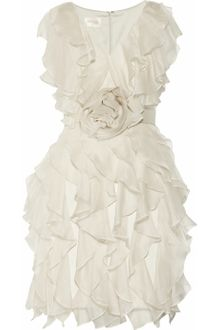 Notte By Marchesa Ruffled Silkcrepe Dress - Lyst