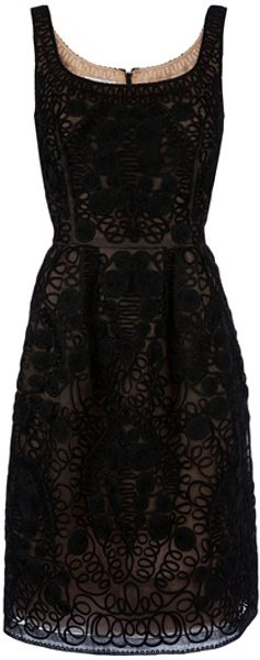 Oscar De La Renta Lace Dress in Black - Lyst
