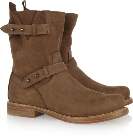 rag bone moto nubuck leather boots in brown lyst