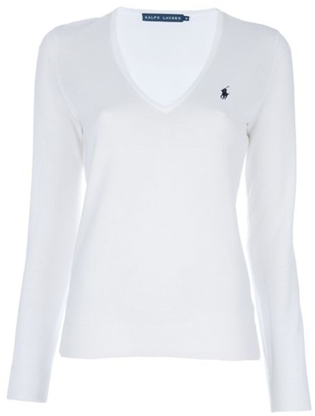 Ralph Lauren Blue Label Classic Sweater in White - Lyst