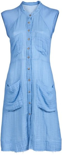Raquel Allegra Gauze Shirt Dress in Blue - Lyst
