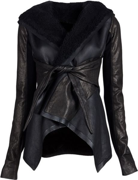Rick Owens Shearling Jacket in Black - Lyst