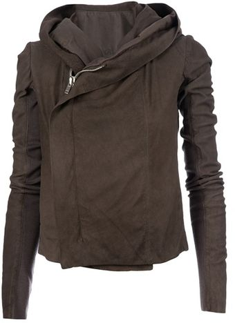 Rick Owens Hooded Leatehr Jacket - Lyst