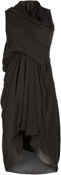 Rick Owens Silk Tunic Dress in Brown (green) - Lyst