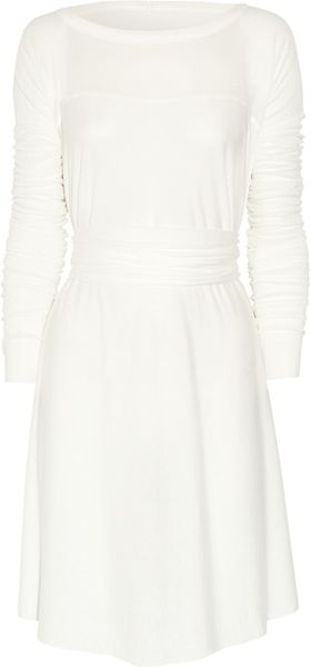 Rick Owens Belted Jersey Dress in White - Lyst