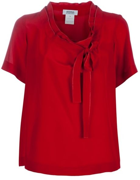 Sonia By Sonia Rykiel Neck Tie Blouse in Red