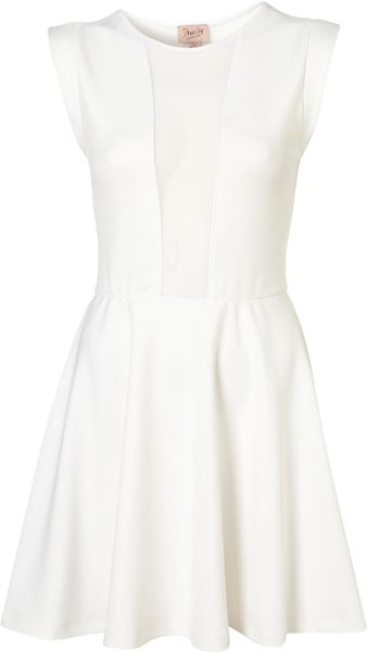 Topshop Mesh Insert Skater Dress By Dress Up - Lyst