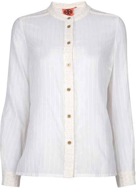 Tory Burch Mora Blouse in White - Lyst