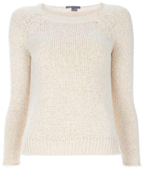 Vince Raglan Sleeve Crew Neck Sweater in Beige (nude) - Lyst