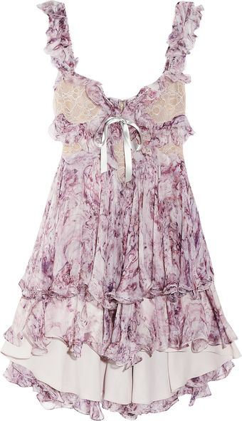 Alexander McQueen Ruffled Printed Silkchiffon Mini Dress - Lyst
