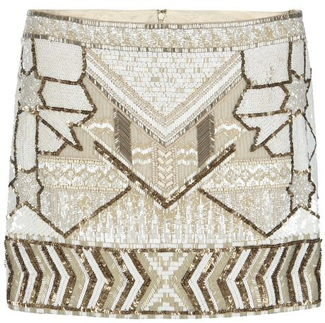 Allsaints Newaz Skirt in Beige (vintage optic) - Lyst