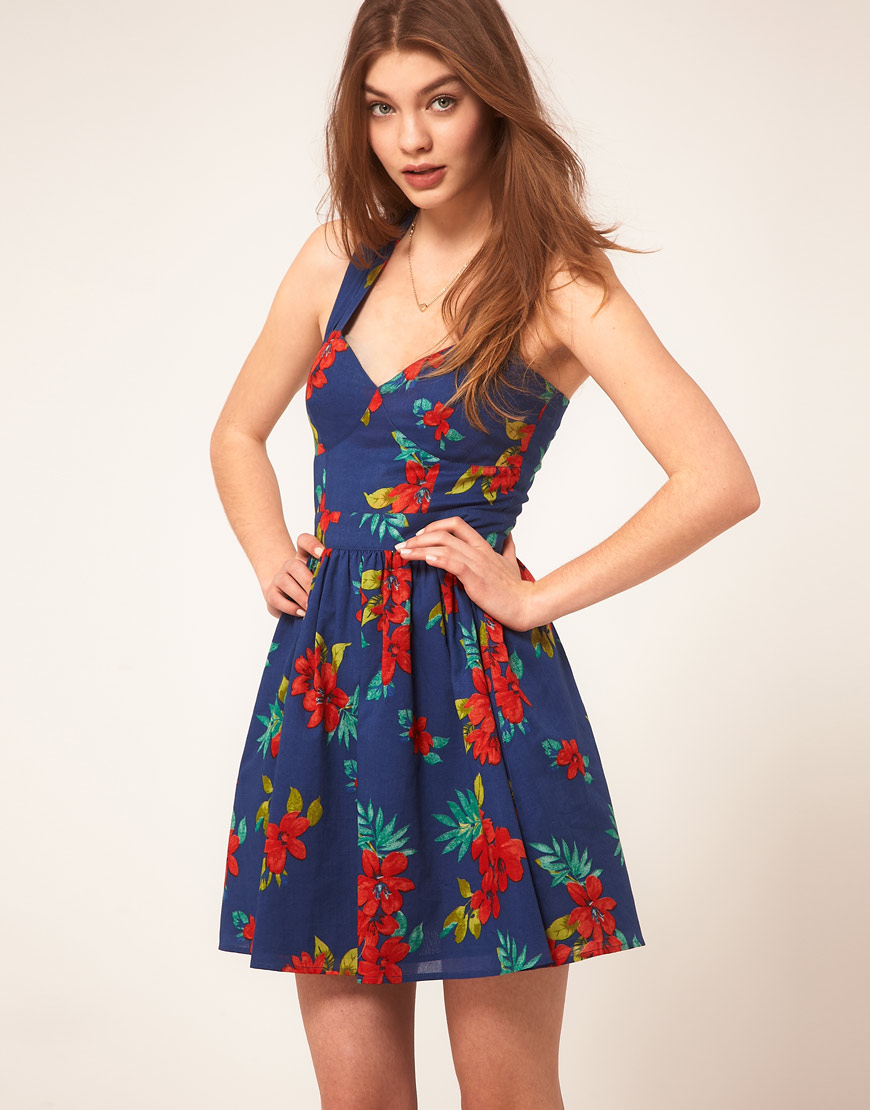 3d14affd130 Lyst - ASOS Summer Dress in Floral Print in Blue