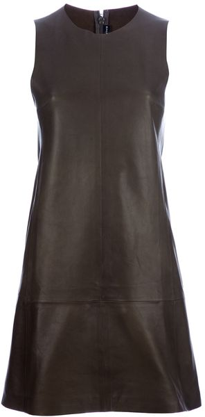 Balenciaga Leather Dress in Green