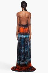 Balmain Long Printed Silk Dress in Multicolor (orange) - Lyst