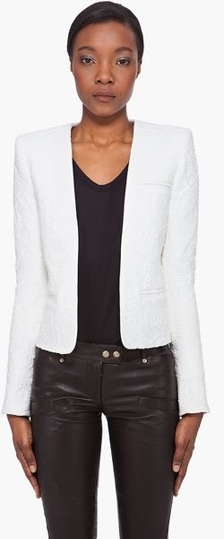 Balmain White Embossed Print Jacket - Lyst