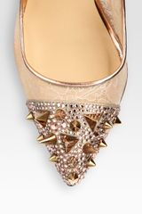 Christian Louboutin Picks Co Crystal Stud Embellished  Leather Pumps in Gold (nude) - Lyst