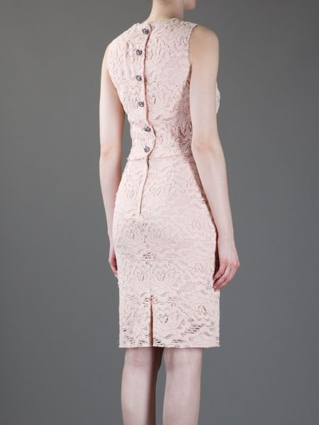 Dolce & Gabbana Lace Dress in Pink - Lyst