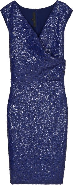 Elie Saab Full Beaded Short Drs Sl 42 in Blue - Lyst