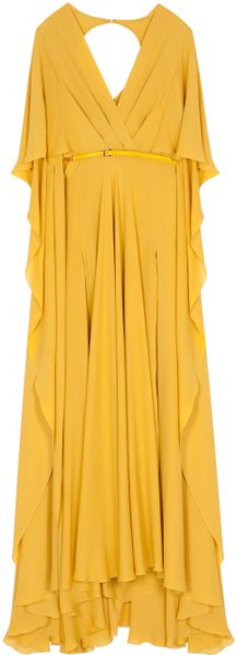 Elie Saab Silk Crep Ss W Slit Dress 14 in Yellow - Lyst