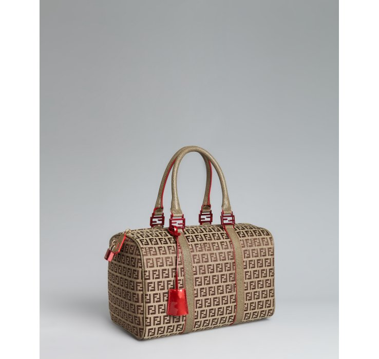 d249b29ad0cb ... order lyst fendi beige zucchino canvas leather trimmed small forever bag  dfcf2 3e1a7