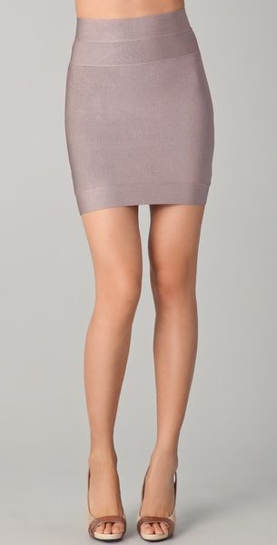 Hervé Léger Signature Essentials Bandage Miniskirt in Gray - Lyst