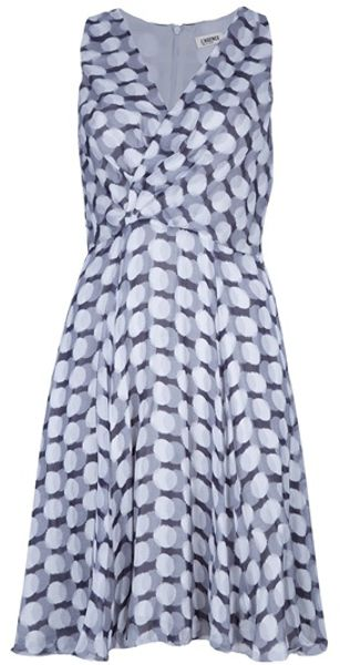 L'agence Printed Sleeveless Dress in Gray (grey) - Lyst