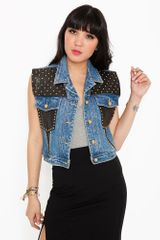 Nasty Gal Total Stud Denim Vest - Lyst