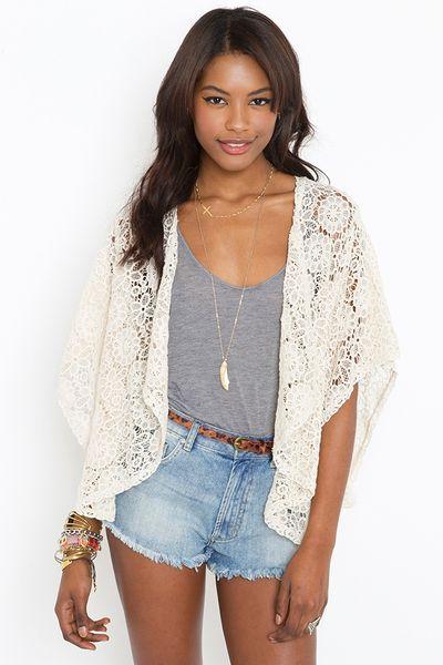 Nasty Gal Solana Crochet Kimono in White (ivory) Lyst