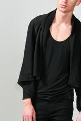 Oak  Linen Square Collar Cardigan in Black for Men - Lyst