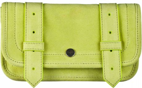 Proenza Schouler Ps1 Wallet Suede in Yellow (chartreuse) - Lyst