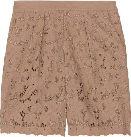 Stella Mccartney Lace Shorts in Brown - Lyst