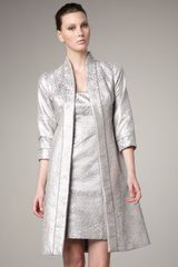 Theia Three Quarter Sleeve Brocade Coat - Lyst
