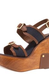Tory Burch Florian Buckled Wedge Sandal - Lyst