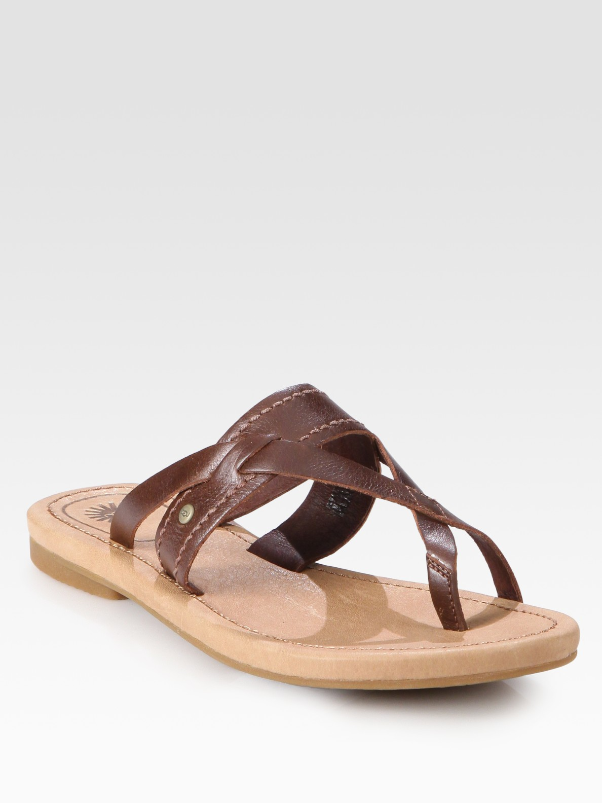 Ugg Mireya Leather Toe Ring Sandals In Brown Lyst
