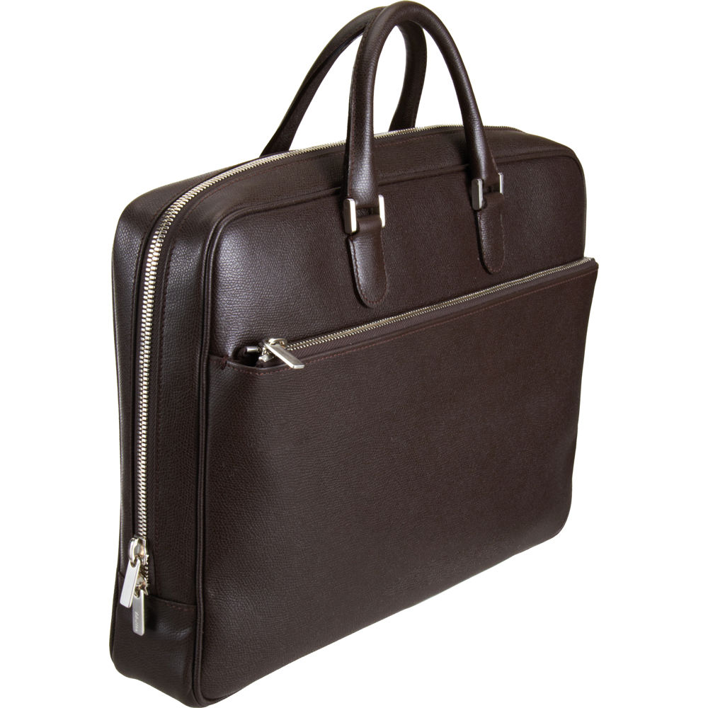 Valextra Zip Around Briefcase in Brown