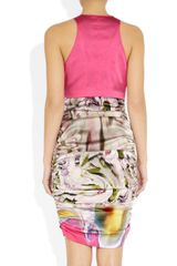 Vera Wang Printed Stretch Silksatin Dress in Multicolor (multicolored) - Lyst