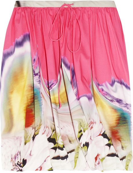 Vera Wang Printed Twisted Stretchcotton Skirt in Multicolor (multicolored)