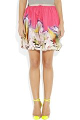 Vera Wang Printed Twisted Stretchcotton Skirt in Multicolor (multicolored) - Lyst