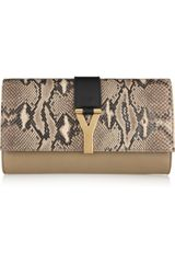 Yves Saint Laurent Chyc Leather and Python Clutch - Lyst