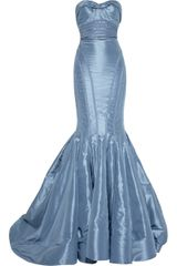 Zac Posen Strapless Taffeta Fishtail Gown - Lyst