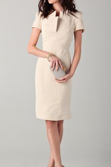 Zac Posen Short Sleeve Dress with Neckline Detail - Lyst