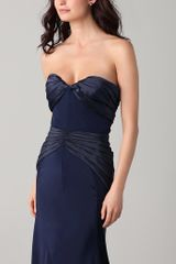 Zac Posen Duchess Satin Gown in Blue (midnight) - Lyst