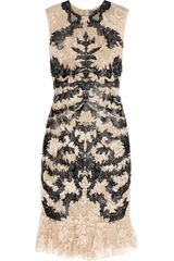 Alexander McQueen Lasercut Patentleather and Lace Dress