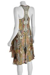 Alexander Mcqueen Yellow Folklore Flower Print Jersey Racerback Dress in Yellow - Lyst